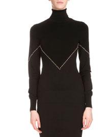 Studded Knit Turtleneck Sweater, Black