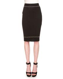 Studded Knit Pencil Skirt, Black