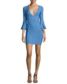 3/4-Sleeve V-Neck Open-Back Bandage Dress, Blue