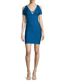 Cold-Shoulder Bandage-Knit Dress, Blue
