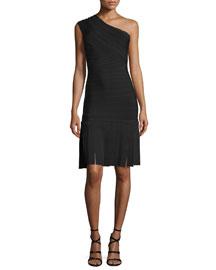One-Shoulder Bandage-Knit Fringe-Hem Gown, Black