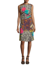 Draped Floral Sleeveless Dress, Multi