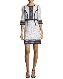 3/4-Sleeve Bicolor Lace Dress, Cream