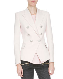 Classic Double-Breasted Wool Blazer, Pink