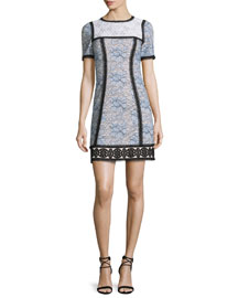 Short-Sleeve Colorblock Lace Dress, Blue