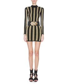 Mock-Neck Long-Sleeve Striped Knit Dress, Black/Gold