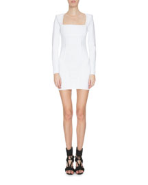 Long-Sleeve Knit Square-Neck Dress, White