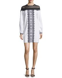 Long-Sleeve Bicolor Lace-Trim Dress, White/Black