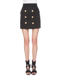 Button-Front Classic Mini Skirt, Black