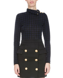 Checkered Button-Shoulder Turtleneck Sweater, Black