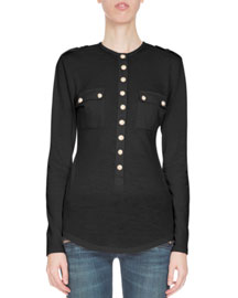 Long-Sleeve Two-Pocket Top, Black