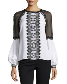 Long-Sleeve Lace-Trim Blouse, White/Black