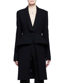 Virgin Wool Peplum Coat, Black
