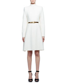 Long-Sleeve Mock-Neck Cape Jacket, Silk White