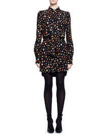 Obsession Long-Sleeve Tie-Neck Dress, Black