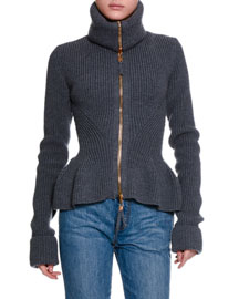 Ribbed Knit Wool Peplum Jacket, Gray