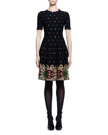 Pixelated Short-Sleeve Knit Dress, Black