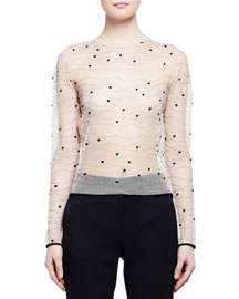 Long-Sleeve Sheer Wave Dot Top, Nude/Black