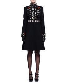 Embroidered Mock-Neck Wool Coat, Black