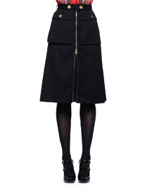 Two-Pocket A-Line Cargo Skirt, Black