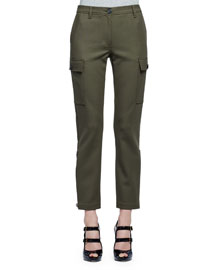 Stretch-Woven Cargo Pants, Olive