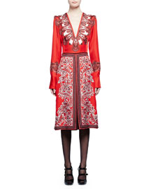 Plunging V-Neck Paisley-Print Sateen Dress, Red