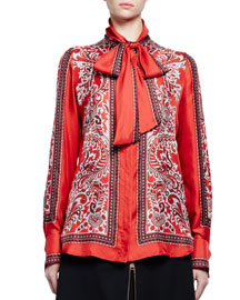 Long-Sleeve Paisley Tie-Neck Blouse, Red