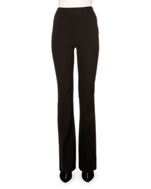 Stretch-Crepe Flare-Leg Pants, Black