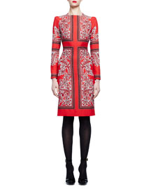Long-Sleeve Geometric Paisley Dress, Red