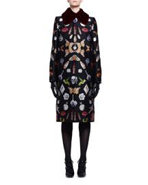 Obsession Jacquard Mink-Collar Coat, Black Mix