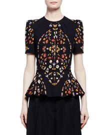Obsession Short-Sleeve Peplum Top, Black