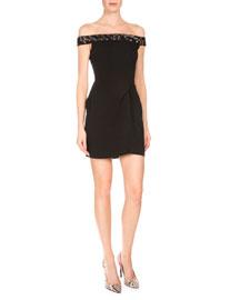 Embellished Off-the-Shoulder Mini Dress, Black