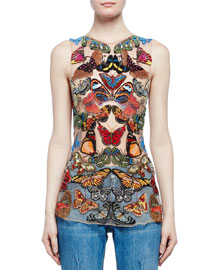 Sleeveless Butterfly-Embroidered Mesh Top, Multi