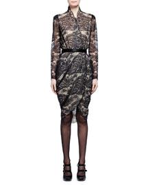 Long-Sleeve Scalloped Paisley Lace Wrap Dress, Black