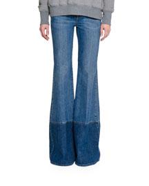 Two-Tone Denim Flare-Leg Jeans