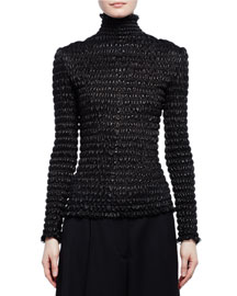 Ruched Leather Turtleneck Top, Black