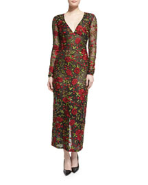 Long-Sleeve Rose-Embroidered Organza Dress, Black/Red