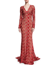 Long-Sleeve V-Neck Floral Lace Gown, Red