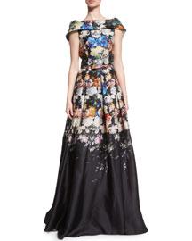 Folded Cap-Sleeve Degrade Organza Gown, Black/Blue
