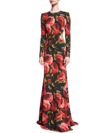 Long-Sleeve Floral-Print Open Back Gown, Black/Red