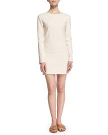 Long-Sleeve Stretch-Wool Mini Dress