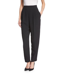 Stretch-Wool Side-Zip Tapered Pants, Black