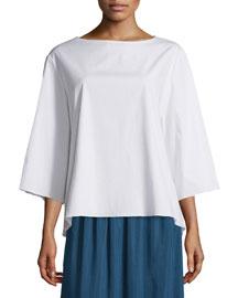 3/4-Sleeve Boxy Stretch-Cotton Top, White