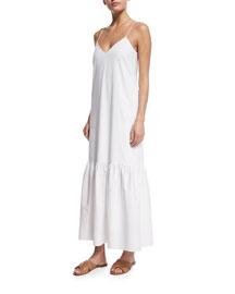 Stretch-Woven Peplum-Hem Maxi Dress
