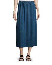 Pleated Midi Skirt, Dark Sapphire