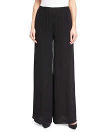 Wide-Leg Elastic-Waist Pants, Black