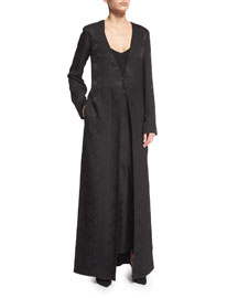 Long Silk Cloque Coat, Black