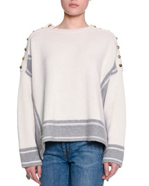Military Striped Cashmere Sweater w/Buttons, Gray/White