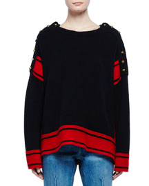 Military Striped Cashmere Sweater w/Buttons, Black/Red