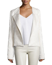 Jewel-Neck Cloque Jacket